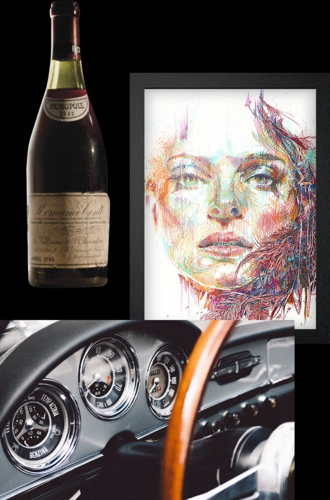 Bottle of wine, collectible painting and classic car dashboard